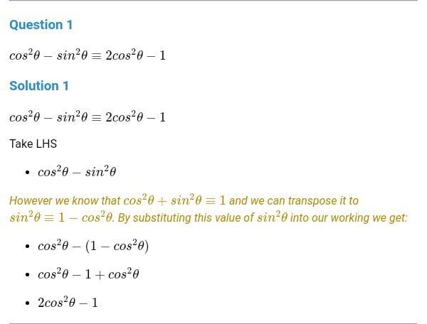 Proving Trigonometrical Identities (A level)