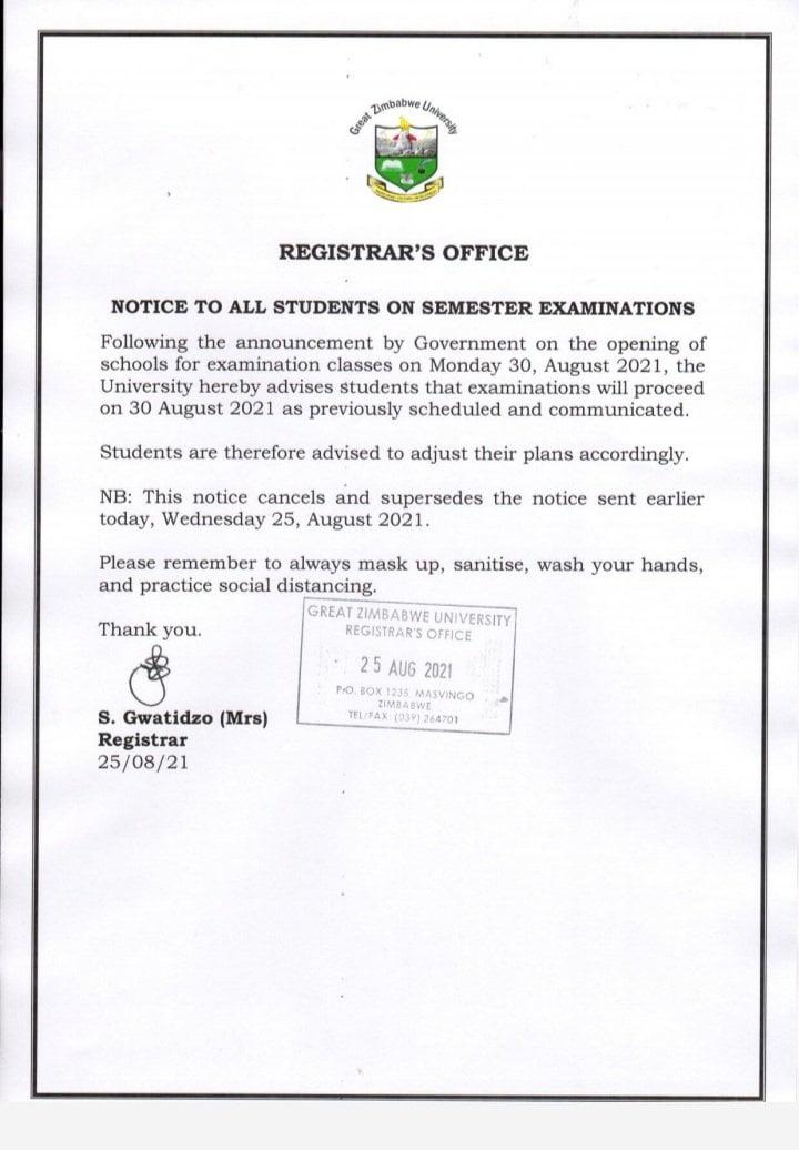 E9qdbNMXoAcQfJB Great Zimbabwe University Postpones Exams and Quickly Makes U turn
