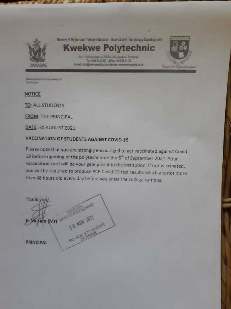 No Vaccination No Entry - Kwekwe Polytechnic College