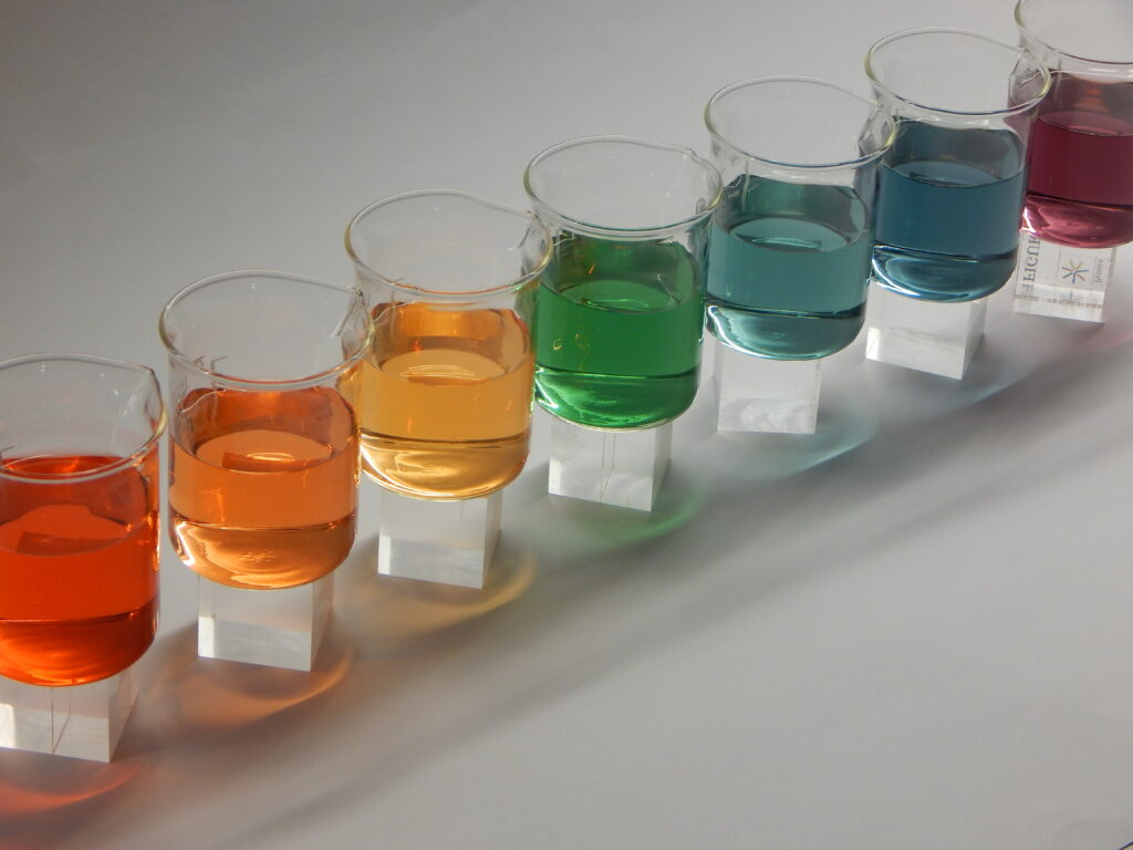 Colours of universal indicator solution